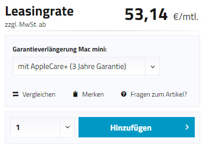 Mac mini Leasingoptionen
